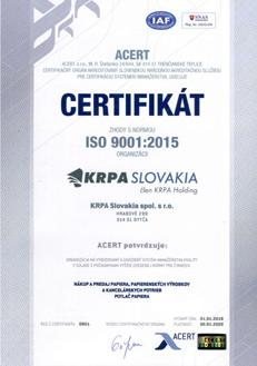Certifikát ISO 9001:2015