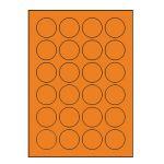 Etikety PRINT kruh 40 reflexné oranžové