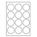 Etikety PRINT kruh 60 biele